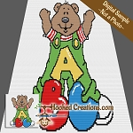 ABC Teddy SC (Single Crochet) Baby Blanket Graphghan Crochet Pattern
