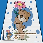 A Beary Pretty Flower TSS  (Tunisian Simple Stitch) Right Handed Throw Blanket Graphghan Crochet Pattern - PDF Download