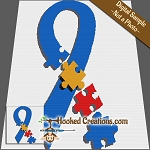 Autism Ribbon SC (Single Crochet) Throw Sized Blanket Graphghan Crochet Pattern - PDF Download