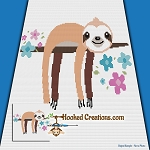 Baby Sloth SC (Single Crochet) Baby Blanket Graphghan Crochet Pattern - PDF Download