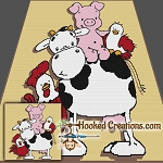 Barnyard Friends SC (Single Crochet) Throw Blanket Graphghan Crochet Pattern - PDF Download