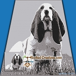 Basset Hound Puppy SC (Single Crochet) Throw Blanket Graphghan Crochet Pattern - PDF Download