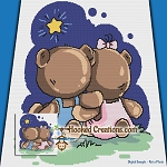 Beary Best Friends SC (Single Crochet) Throw Blanket Graphghan Crochet Pattern - PDF Download