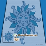 Blue Sun SC (Single Crochet) Throw Sized Blanket Graphghan Crochet Pattern - PDF Download