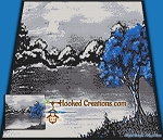 Blue Tree SC (Single Crochet) Throw Blanket Graphghan Crochet Pattern - PDF Download