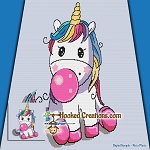 Bubblegum Unicorn SC (Single Crochet) Throw Sized Blanket Graphghan Crochet Pattern - PDF Download
