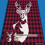 Buffalo Plaid Deer Mini C2C (Modified Corner to Corner) Throw Blanket Graphghan Crochet Pattern - PDF Download