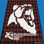 Buffalo Plaid Grizzly Bear SC (Single Crochet) Throw Blanket Graphghan Crochet Pattern - PDF Download