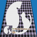 Buffalo Plaid Kitties Mini C2C (Modified Corner to Corner) Throw Blanket Graphghan Crochet Pattern - PDF Download