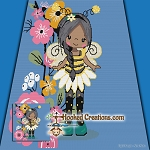 Bumble Bee Girl SC (Single Crochet) Throw Blanket Graphghan Crochet Pattern - PDF Download
