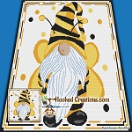 Bumble Bee Gnome SC (Single Crochet) Throw Blanket Graphghan Crochet Pattern - PDF Download