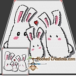 Bunny Love Mini C2C (Modified Corner to Corner) Throw Blanket Graphghan Crochet Pattern - PDF Download