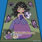 Butterfly Girl SC (Single Crochet) Throw Blanket Graphghan Crochet Pattern - PDF Download