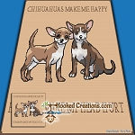 CHIHUAHUAS MAKE ME HAPPY SC (Single Crochet) Throw Blanket Graphghan Crochet Pattern - PDF Download