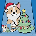 Christmas Puppy Mini C2C (Modified corner to Corner) Throw Blanket Graphghan Crochet Pattern - PDF Download