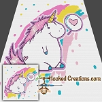 Chubby Unicorn Love SC (Single Crochet) Throw Blanket Graphghan Crochet Pattern