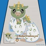 Dragon Hatchling SC (Single Crochet) Throw Blanket Graphghan Crochet Pattern - PDF Download