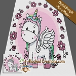 Flower Unicorn TSS (Tunisian Simple Stitch)-Right Handed Throw Blanket Graphghan Crochet Pattern