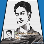 Frida Kahlo SC (Single Crochet) Throw Blanket Graphghan Crochet Pattern - PDF Download