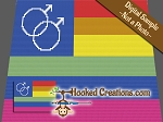 GAY PRIDE FLAG MALE SC (Single Crochet) Twin Size Blanket Graphghan Crochet Pattern - PDF Download