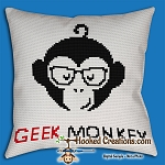 Geek Monkey SC (Single Crochet) Throw Pillow Graphghan Crochet Pattern - PDF Download