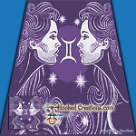 Gemini Twins SC (Single Crochet) Throw Blanket Graphghan Crochet Pattern - PDF Download