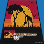 Giraffe Sunset SC (Single Crochet) Throw Blanket Graphghan Crochet Pattern - PDF Download