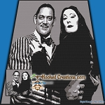 Gomez and Morticia SC (Single Crochet) Throw Blanket Graphghan Crochet Pattern - PDF Download