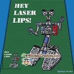 Hey Laser Lips SC (Single Crochet) Throw Blanket Graphghan Crochet Pattern - PDF Download