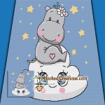 Hippo in the Clouds SC (Single Crochet) Throw Blanket Graphghan Crochet Pattern - PDF Download