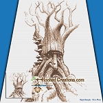 Hobbit Tree SC (Single Crochet) Throw Blanket Graphghan Crochet Pattern - PDF Download
