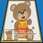 Honey Bear SC (Single Crochet) Baby Blanket Graphghan Crochet Pattern - PDF Download