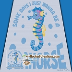 I Wanna Be A Seahorse SC (Single Crochet) Throw Blanket Graphghan Crochet Pattern - PDF Download