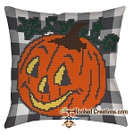 Jack-O-Lantern SC (Single Crochet) Throw Pillow Graphghan Crochet Pattern - PDF Download