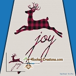 Joy Reindeer SC (Single Crochet) Throw Blanket Graphghan Crochet Pattern - PDF Download