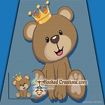 King of the Teddys SC (Single Crochet) Throw Blanket Graphghan Crochet Pattern - PDF Download