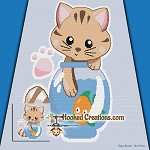 Kitty Fishing SC (Single Crochet) Throw Blanket Graphghan Crochet Pattern - PDF Download