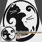 Kitty Yin Yang SC (Single Crochet) Throw Blanket Graphghan Crochet Pattern - PDF Download