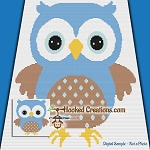 Little Blue Hoot TSS (Tunisian Simple Stitch) Right Handed Baby Blanket Graphghan Crochet Pattern - PDF Download