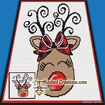 Little Rudolph SC (Single Crochet) Baby Blanket Graphghan Crochet Pattern - PDF Download