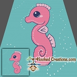Little Seahorse SC (Single Crochet) Throw Blanket Graphghan Crochet Pattern - PDF Download