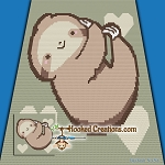Little Sloth Mini C2C (Modified Corner to Corner) Throw Blanket Graphghan Crochet Pattern - PDF Download