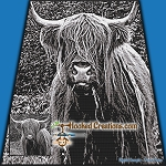 Long Haired Highland Cow SC (Single Crochet) Throw Blanket Graphghan Crochet Pattern - PDF Download