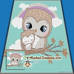 Mama Owl Snuggles SC (Single Crochet) Throw Blanket Graphghan Crochet Pattern - PDF Download