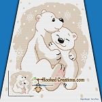 Mama Polar Bear Snuggles SC (Single Crochet) Throw Blanket Graphghan Crochet Pattern - PDF Download