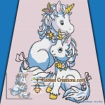 Mama Unicorn Snuggles SC (Single Crochet) Throw Blanket Graphghan Crochet Pattern - PDF Download