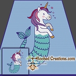 Mermicorn SC (Single Crochet) Throw Blanket Graphghan Crochet Pattern - PDF Download