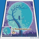 Moon Lite Owl SC (Single Crochet) Throw Blanket Graphghan Crochet Pattern - PDF Download