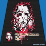 My Favorite Scary Movies SC (Single Crochet) Throw Blanket Graphghan Crochet Pattern - PDF Download