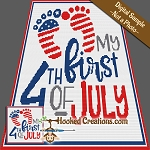 My First 4th of July TSS (Tunisian Simple Stitch) Right Handed Baby Blanket Graphghan Crochet Pattern - PDF Download